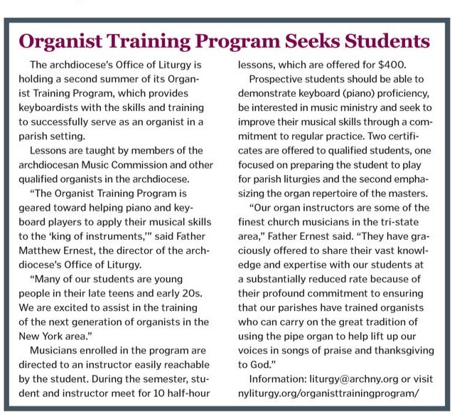 cny 20170622 594c6d337775e - Organist Training Program in Catholic New York