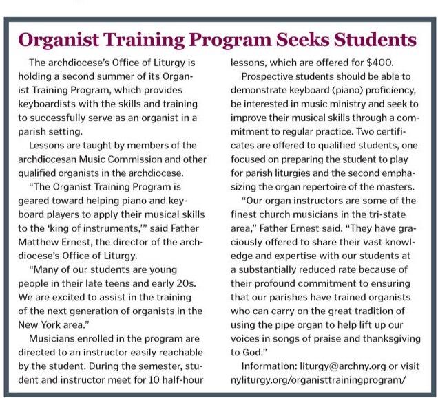 cny 20170622 594c6d337775e - Organist Training Program in Catholic New York